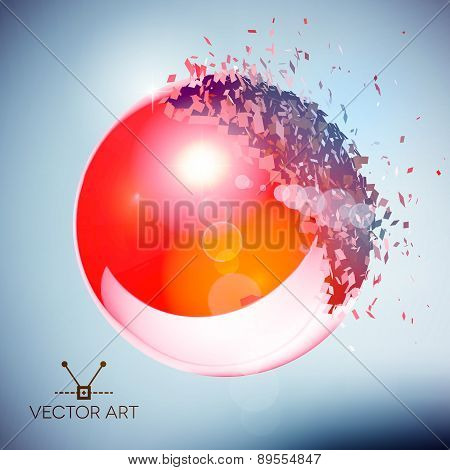 Red 3D ball exploded into pieces