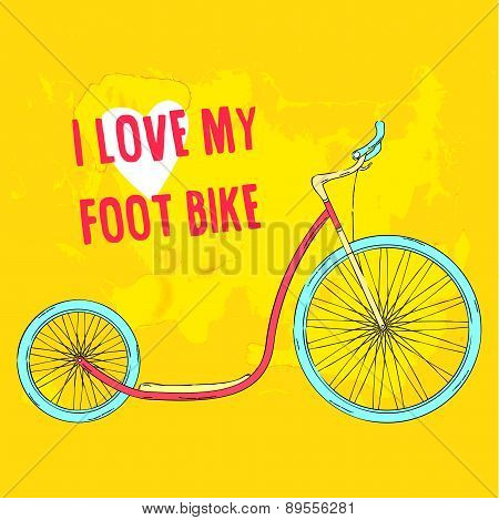 Hand drawn pink foot bike with blue wheels on bright green background.