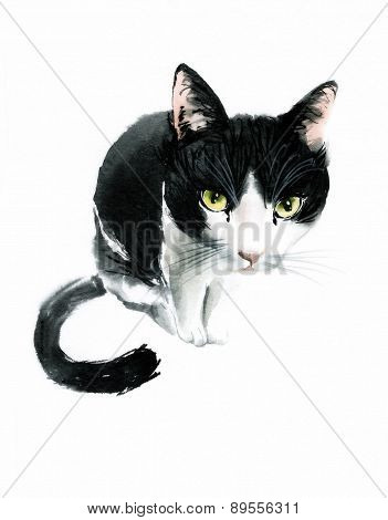 Curious Black Watercolor Cat On White Background