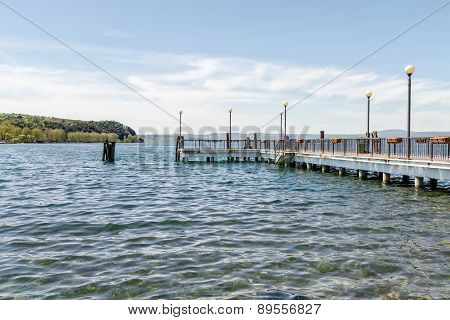 View Of The Jetty From The Shore Of Bracciano Lake