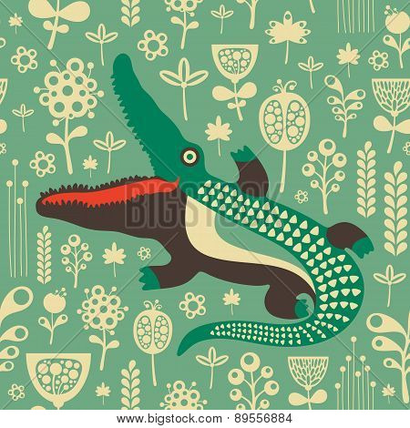 Vintage seamless pattern with colorful crocodile and flowers.