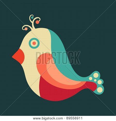 Colorful happy bird.