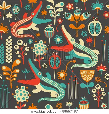 Colorful seamless pattern with flowers and crocodiles.