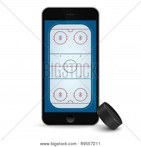 Black Smartphone With Ice Hockey Puck And Field On The Screen.