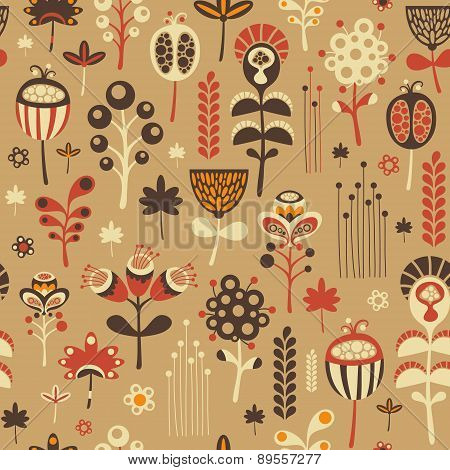 Vintage seamless pattern with colorful flowers.