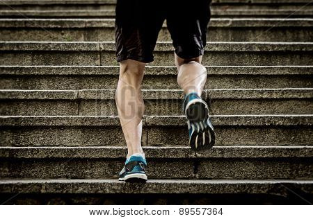 Young Athletic Legs With Sharp Scarf Muscles Of Runner Sport Man Climbing Up City Stairs Jogging And