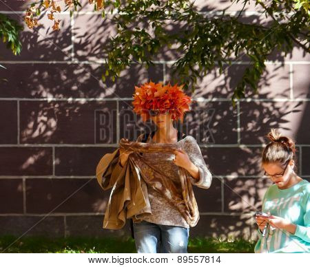 Campus Of Princeton University - Girl With Hat Made Of Leaves