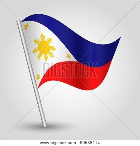 Vector Waving Simple Triangle Filipino  Flag On Pole - National Symbol Of Philippines