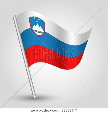 Vector Waving Simple Triangle Slovenian Flag On Pole - National Symbol Of Slovenia