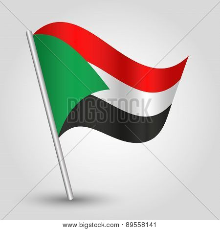 Vector Waving Simple Triangle Sudanese Flag On Pole - National Symbol Of Sudan