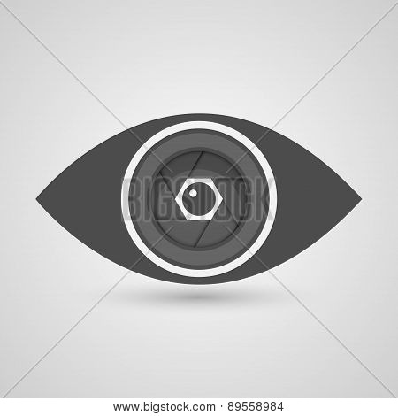 Camera Lens Inside The Eye. Vector Illustration.
