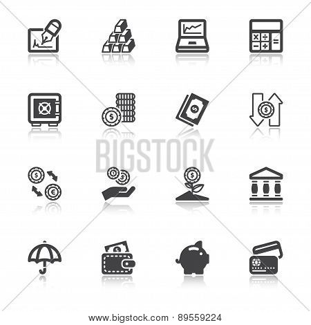Finances Flat Icons With Reflection