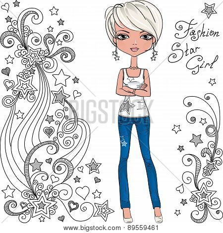 Vector fashion hipster girl and star