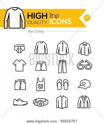 Men Clothes line icons series