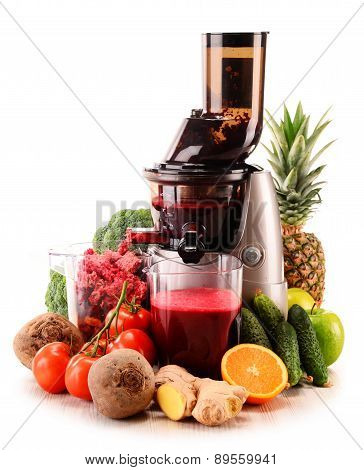 Slow Juicer With Organic Fruits And Vegetables Isolated On White