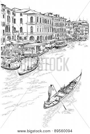 Venice - Grand Canal. The view from the Rialto Bridge. Black & white sketch