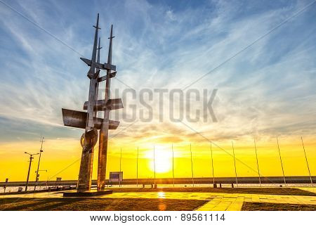 Monument Three Masts At Sunrise