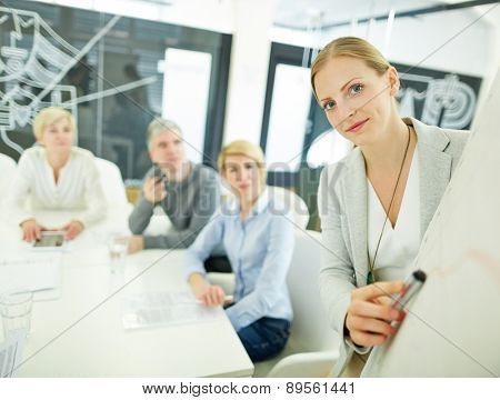 Woman from consulting company giving presentation in a meeting