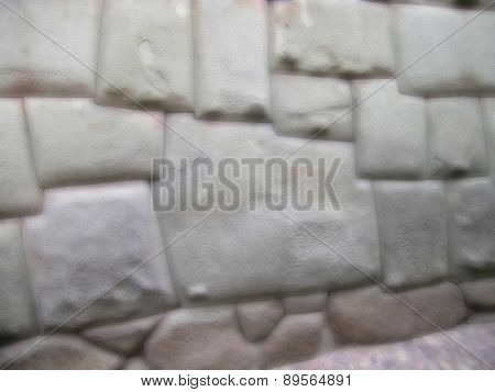 Blurred Background Of Ancient Wall In Cuzco, Peru