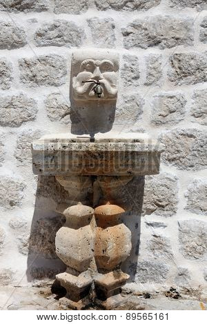 PERAST, MONTENEGRO - JUNE 08: Fragment of Our Lady of the Rock church, Perast, Montenegro, on June 08, 2012