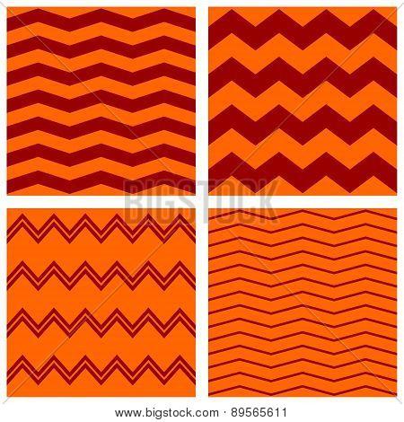 Tile vector autumn zig zag pattern set