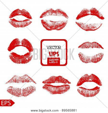 Print of pink lips set. Vector illustration on a white background.