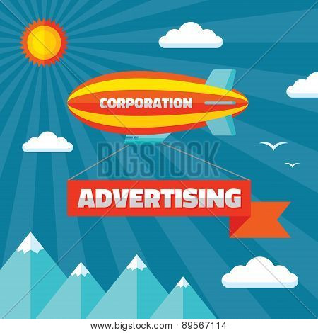 Airpship with advertising banner - creative vector illustration in flat style