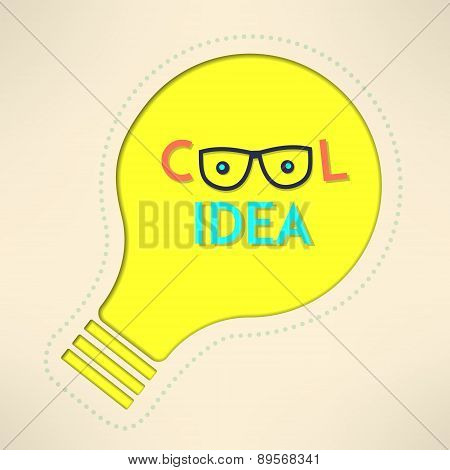 Light bulb cool idea with googles background. Inspirational design. Creativity concept. Vector illus