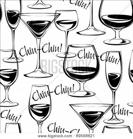 Vector Illustration Of Wine Glasses. Seamless Pattern.