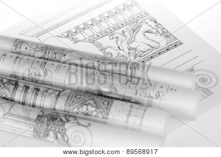 rolls of architecture blueprints & architecture drawings