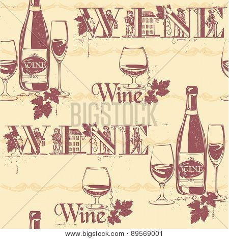 Vector Illustration Of Wine Bottles And Glasses. Seamless Vintage Pattern.