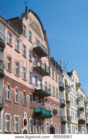 Balconies on the facade of the Art Nouveau building