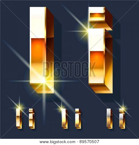 Vector set of gold shiny 3D alphabet. Letter I