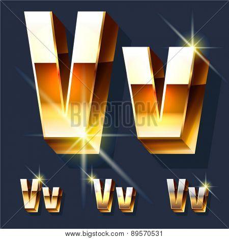 Vector set of gold shiny 3D alphabet. Letter V