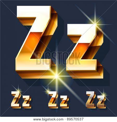 Vector set of gold shiny 3D alphabet. Letter Z