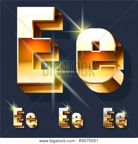 Vector set of gold shiny 3D alphabet. Letter E
