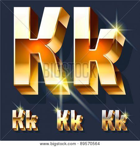 Vector set of gold shiny 3D alphabet. Letter K