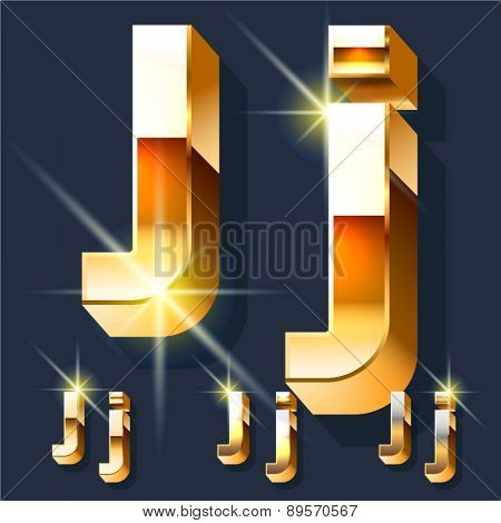Vector set of gold shiny 3D alphabet. Letter J