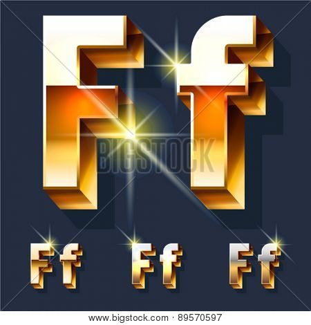 Vector set of gold shiny 3D alphabet. Letter F