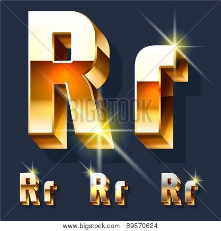 Vector set of gold shiny 3D alphabet. Letter R