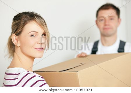 Woman moving in her new house