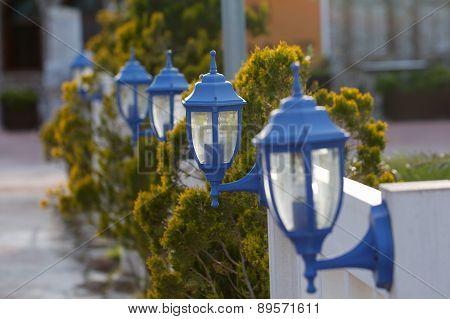 Blue garden lantern.