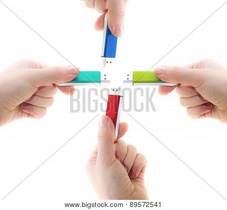 Flash drive in woman hand i
