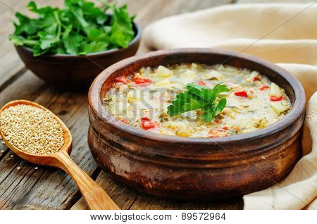Milk Soup With Potatoes, Quinoa And Peppers