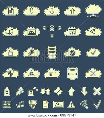 Silhouette  Cloud Storage, Data analysis, network technology settings icons flat set isolated on mul