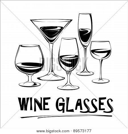 Vector Illustration Of Wine Glasses.