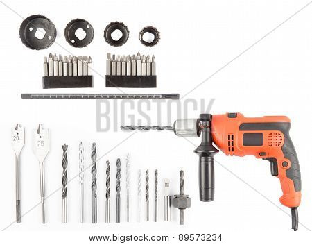 Drill with Bits on white background