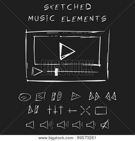 Doodle music elements set, sketch design.