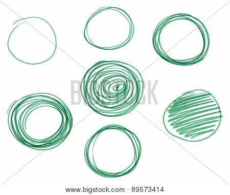Set of Hand drawn circles, vector logo design elements. Marker, felt pen, liner style