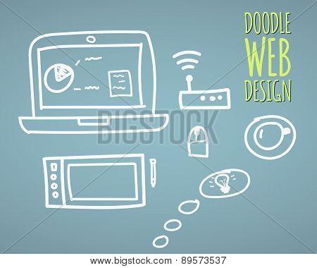 Hand drawn vector illustration website design elements and user interface programming doodles elemen